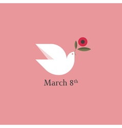 Dove with flower International Womens Day vector image vector image