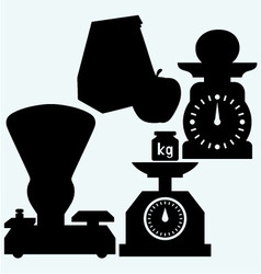 Weight scale weight apple and paper bag vector