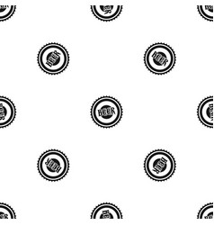 beer bottle cap pattern seamless black vector image vector image