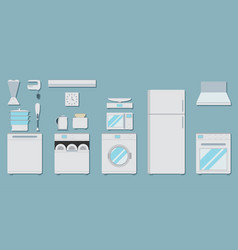 flat icons for kitchen appliances set of gray vector image vector image