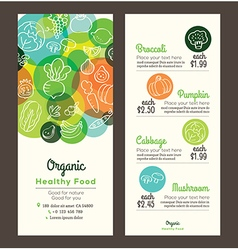 Organic healthy food template for menu flyer vector image vector image
