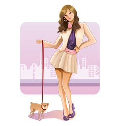 sexy girl with puppy vector image vector image