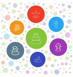 7 wellness icons vector image