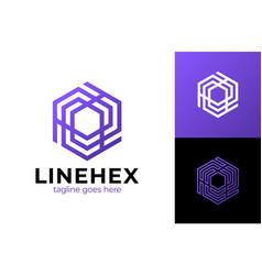 abstract cube hexagon logo design modern vector image