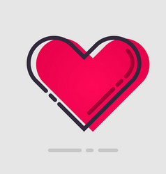 abstract flat red heart icon vector image