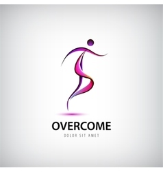Abstract overcome logo man running moving vector