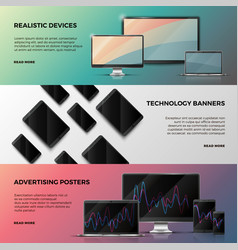 advertising banners with computer screen vector image