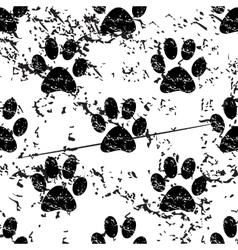 Animal paw pattern grunge monochrome vector image
