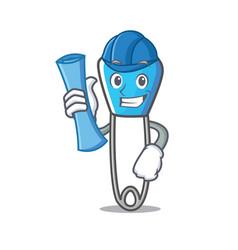 architect safety pin character cartoon vector image