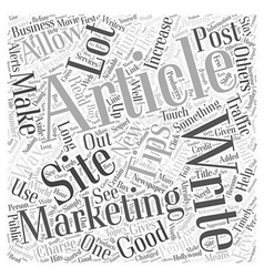 Article Marketing Tips Word Cloud Concept vector