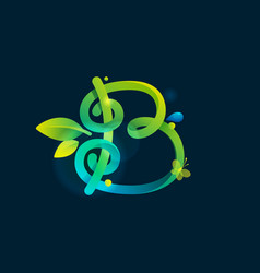 B letter eco logo with green curved lines leaves vector