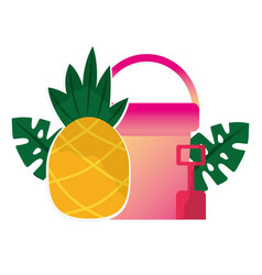 beach bucket shovel and pineapple tropical summer vector image