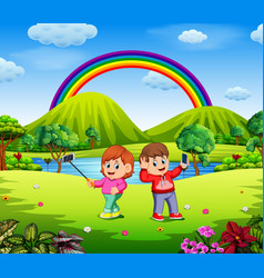 boy and girl selfie photo with beautiful nature vector image