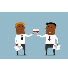 Businessmen celebrating a signing of contract vector image