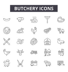 butchery line icons signs set outline vector image