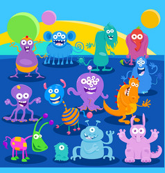 Cartoon fantasy monster or alien characters vector