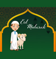 cartoon muslim boy with goat for celebrating vector image