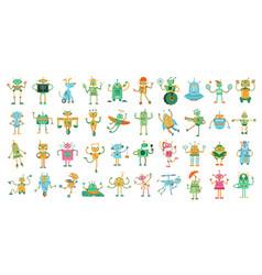cartoon robots cute robot toy for kids robotics vector image