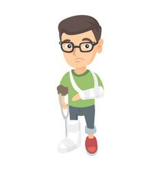caucasian sad injured boy with broken arm and leg vector image