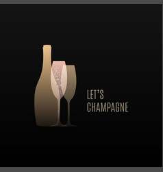 champagne logo with bottle and glass vector image