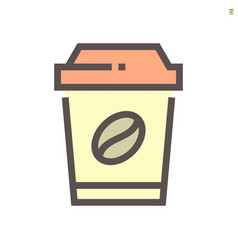 coffee in plastic cup icon design for food vector image