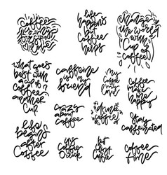 Coffee phrases hand drawn lettering set vector