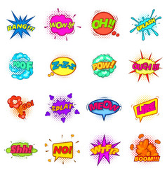 Comic sound cloud set icons set cartoon style vector