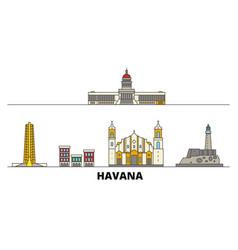 Cuba havana flat landmarks vector