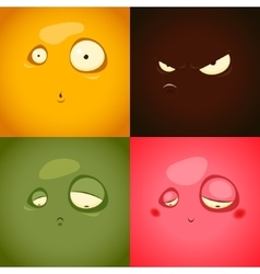 Cute cartoon emotions anger surprise sadness vector image