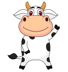 Cute cow cartoon waving vector image