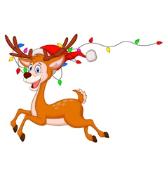 Cute deer cartoon with colorful bulb vector image