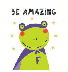 Cute frog superhero vector