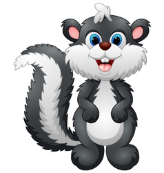 Cute skunk cartoon vector image