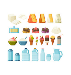 Dairy products flat set isolated milk cheese and vector