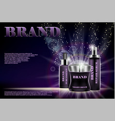 design cosmetics advertising product on a shiny vector image