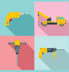 Drilling machine electric icons set flat style vector