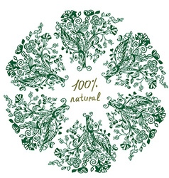 Eco label - floral grafic design vector