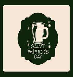 emblem saint patricks day with beer mug in green vector image