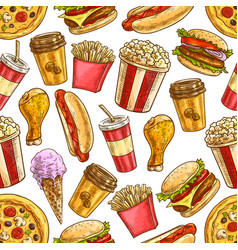 Fast food sketch icons seamless pattern vector