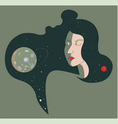 Female portrait and moon planet in cosmos vector