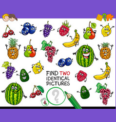 Find two identical fruits game for kids vector