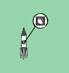 Flat icon design collection rocket and porthole vector