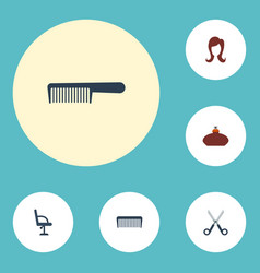Flat icons perfume comb elbow chair and other vector