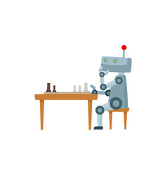 flat robot playing chess isolated vector image
