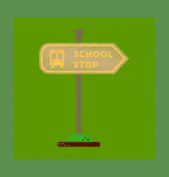 Flat shading style icon school stop sign vector