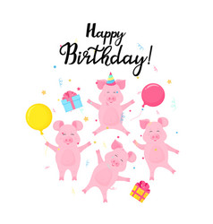 four funny piglets celebrate at the party pigs vector image