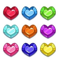 Funny cartoon colorful heart shape gems vector