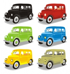 funny colored cars with details vector image