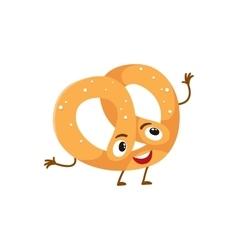 Funny freshly baked pretzel character vector image