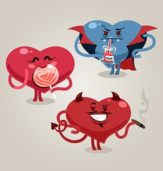 funny valentines hearts with demon vector image